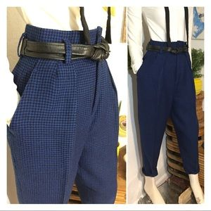 80's Wool High Waist Pleated Houndstooth Slacks